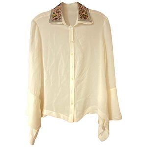 ETRO Creme Embroidered Collar Silk Blouse 40